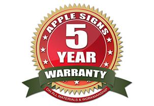 5 yr warranty on all signage